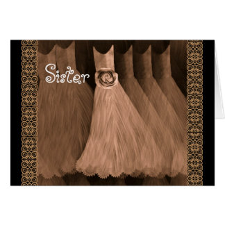 SISTER Maid of Honor Invitation ANTIQUE COPPER Greeting Cards