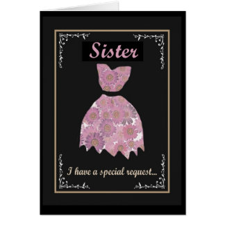 SISTER  Maid of Honor Invitation Mauve Pink Gown