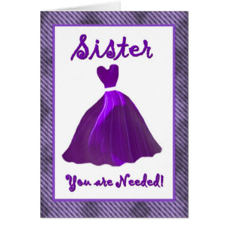 SISTER Maid of Honor Invitation - PURPLE Gown Card