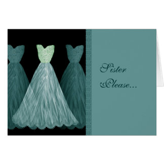 SISTER Maid of Honor Invitation - TURQUOISE Gowns Cards