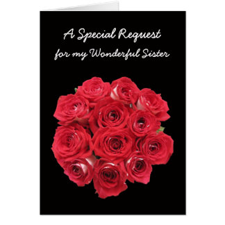 Sister Maid of Honor Invitations Card - Bouquet
