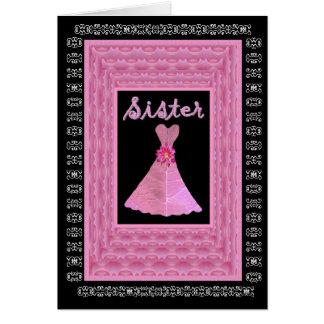 SISTER Maid of Honor PINK Dress Rose Petal Trim Card