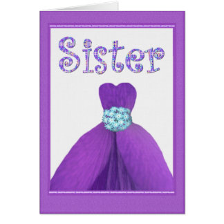 SISTER - Maid of Honor PURPLE Flower Petal Dress Cards