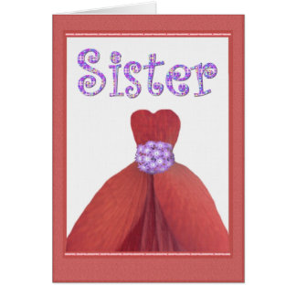 SISTER - Maid of Honor RED Flower Petal Dress Card