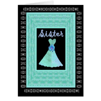 SISTER Maid of Honor TURQUOISE Dress Petal Trim Card