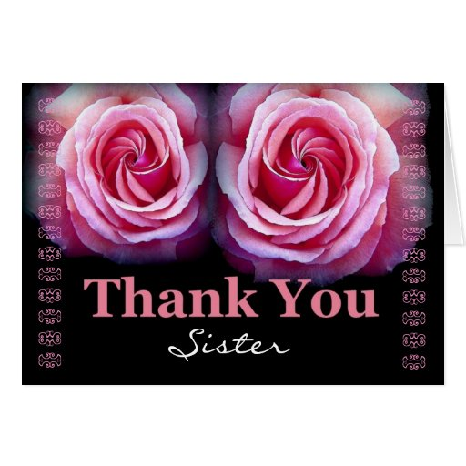 SISTER Maid of Honor Wedding Thank You Pink Roses Card Zazzle