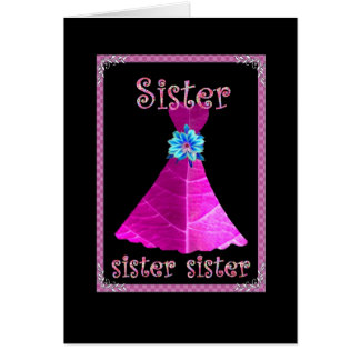 SISTER - Maid of Honor with Magenta Pink Gown Greeting Card
