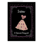 SISTER - Matron of Honor - Peach and Mauve Dress Cards