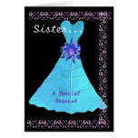 SISTER Matron of Honour Turquoise Gown Lace Trim Card