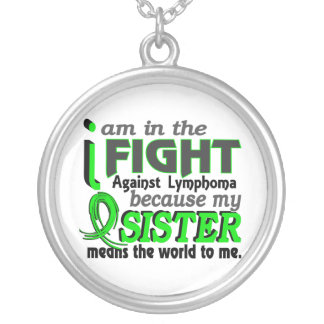 Sister Means The World To Me Lymphoma Round Pendant Necklace