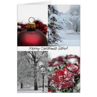 Sister Merry Christmas! red winter snow collage Greeting Card