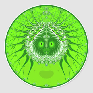 Sister Moon - Green Classic Round Sticker