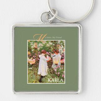 Sister, Mother's Day, Girls in Flower Garden, Gift Keychain