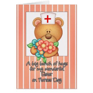 Sister Nurse's Day Card With Nurse Teddy Bear And