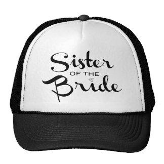 Sister of Bride Black on White Mesh Hats