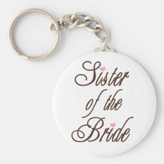 Sister of Bride Classy Browns Basic Round Button Keychain