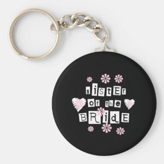 Sister of Bride White on Black Basic Round Button Keychain