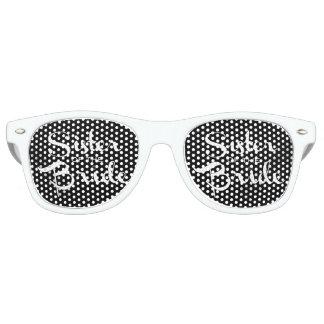 Sister of Bride White on Black Retro Sunglasses