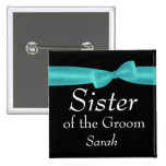 SISTER of Groom Aqua Bow Wedding Custom Name Y138 Pins