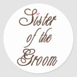 Sister of Groom Classy Browns Classic Round Sticker