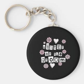 Sister of Groom  White on Black Keychain