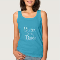 Sister Of The Bride Blue And White Elegant Cool Tank Top