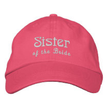 SISTER of the BRIDE Custom Name PINK B3B Embroidered Baseball Cap