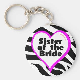 Sister of the Bride (Heart Zebra Print) Keychain