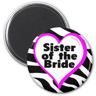 Sister of the Bride (Heart Zebra Stripes) Fridge Magnet
