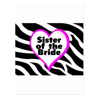 Sister of the Bride (Heart Zebra Stripes) Postcard