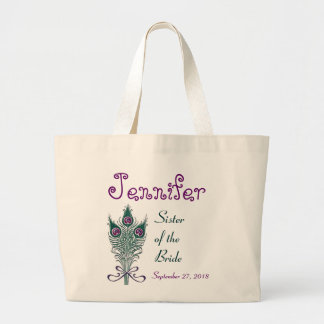 Sister of the Bride Peacock Feather Teal Purple Large Tote Bag