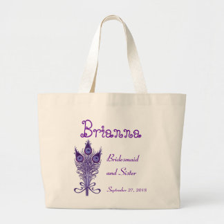 SISTER of the BRIDE Purple Peacock Feathers V2 Large Tote Bag