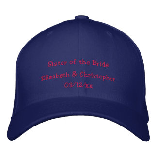 """Sister of the Bride"" w/ Couple's Names Embroidered Baseball Cap"