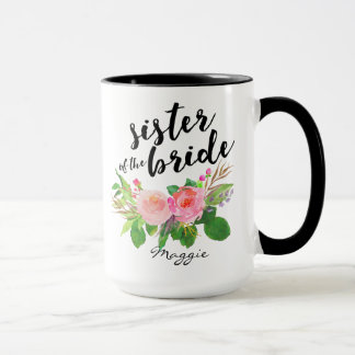 Sister of the Bride Watercolor Floral Personalized Mug