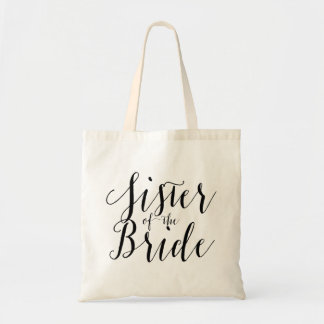 Sister of the bride wedding tote bag