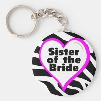 Sister of the Bride Zebra Stripes Keychain