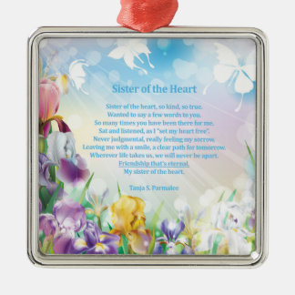 Sister of the Heart Poetry Collector Metal Ornament