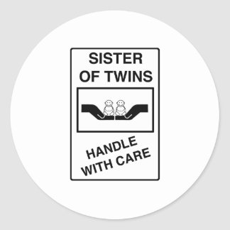 Sister of Twins Handle With Care Stickers