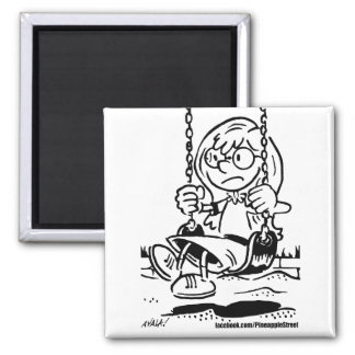 Sister on the Swing 2 Inch Square Magnet