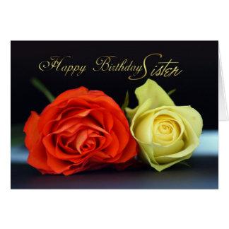 Sister Orange And Cream Rose Birthday Card