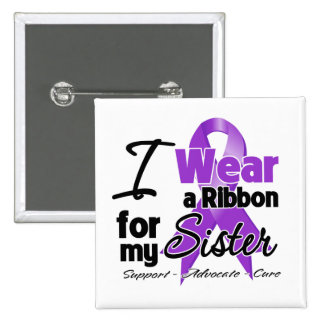 Sister - Pancreatic Cancer Ribbon 2 Inch Square Button
