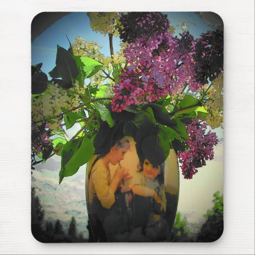 Sister Plays the flute under the lilacs in vase Mouse Pad