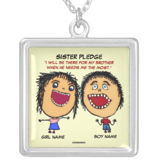 Sister Pledge Silver Plated Necklace