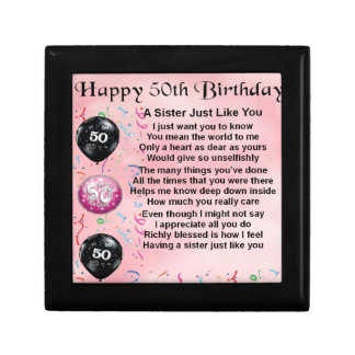 sister poem - 50th birthday design gift box