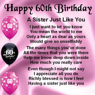 Sister 60th Birthday Gifts On Zazzle