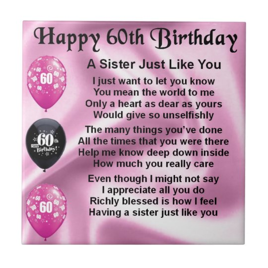 Sister Poem - 60th Birthday Tile