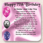 "Sister Poem - 70th Birthday Drink Coaster<br><div class=""desc"">A great gift for a sister on her 70th birthday</div>"