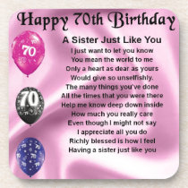 Sister Poem - 70th Birthday Drink Coaster
