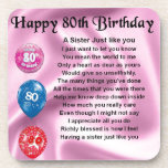 """Sister Poem  - 80th Birthday Beverage Coaster<br><div class=""""desc"""">A great gift for a sister on her 80th birthday</div>"""