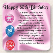 Sister Poem  - 80th Birthday Beverage Coaster